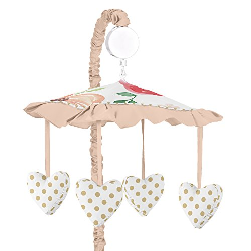 Sweet Jojo Designs Peach, Green and Gold Musical Baby Crib Mobile for Watercolor Floral Collection - Pink Rose Flower ()