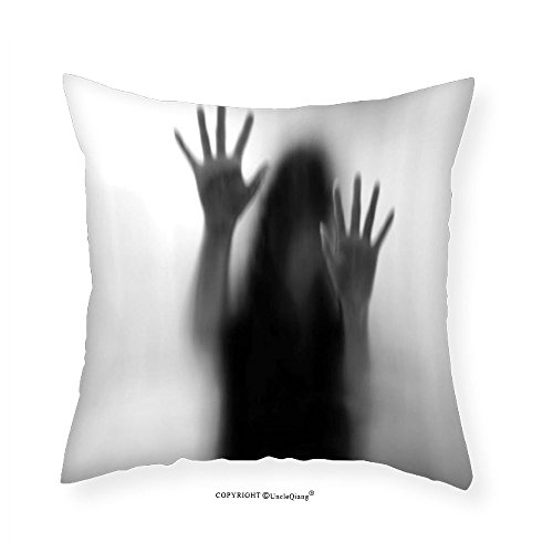 VROSELV Custom Cotton Linen Pillowcase Horror House Decor Silhouette of Woman behind the Veil Scared to Death Obscured Paranormal Photo for Bedroom Living Room Dorm Gray 26''x26'' by VROSELV