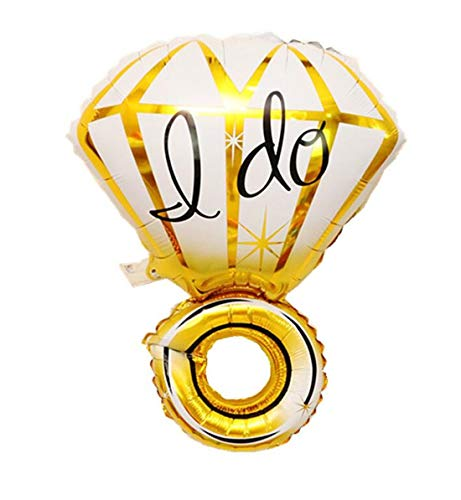 Tmrow I do Creative Diamond Ring Engagement Wedding Balloons Birthday Party Decor Balloon,Gold Diamond Ring ()