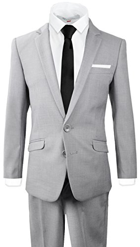 Black n Bianco Signature Boys' Slim Fit Suit Complete Outfit (14, Light Gray) by Black n Bianco