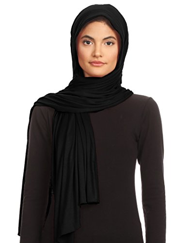 Scarf Jersey Rayon - Abeelah Jersey Hijab Scarf - Made in the USA - Islamic, Muslim, African and Indian Fashion Compatible Black,Large