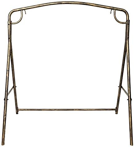 Henf Outdoor Patio Porch Swing Frame, Rustic Bronze Finish Metal Swing Frame, Garden Iron Art Double Holders Swing Frame, Weight Capacity 441 lbs Without Swing Chair