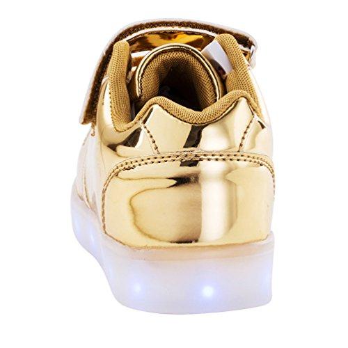 AFFINEST Kids Unisex niños USB Carga LED Luz Luminosas Flash Zapatos Zapatillas de Deporte Sneaker Oro