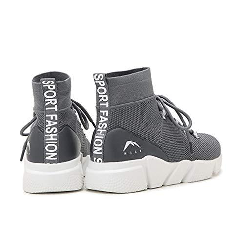 top Platform amp; Stretch Scarpe Stivali Grigio Spring Knit Invisible Casual Sneakers Highening Da Shoes High Fall Calzini Donna Yan qzwTn