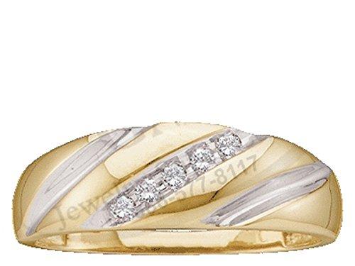 10kt Yellow Gold Mens Diagonal Round Diamond Wedding Anniversary Band Ring 1/10 Cttw by JawaFashion