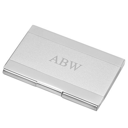(Executive Gift Shoppe | Personalized Business Card Holder | Free Customizable Laser Engraving | Holds Up to 15 Cards | Professional Two Tone Satin Finish | Polished Silver Chrome)