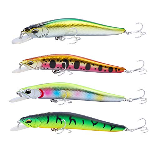 (RUNCL Anchor Box - Shallow Running Minnows M145, Wobbler Fishing Lures, Stick Baits, Hard Fishing Lures (Pack of)