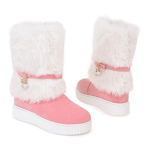 COOLCEPT Damen Winter Schneestiefel Ohne Verschluss Pink