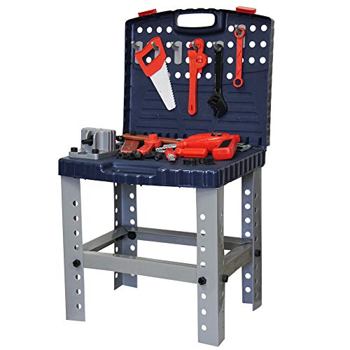 Lulu Home Kids Tool Set, Kids Workbench with Electric Drill Construction Tool Set Workshop (67pcs)
