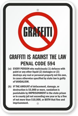 Graffiti Is Against The Law Sign, 18