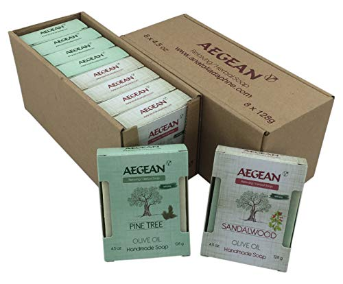 (100% Natural Handmade Vegan Soap Bar, Gift Set, 4.5 oz Each Bar, 8 Pieces (Pine Tree - Sandalwood))