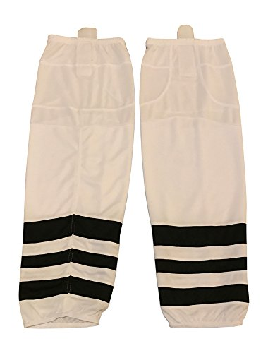 Mesh Dry-fit Hockey Socks Adult and Youth Sizes (White/Black, Large)