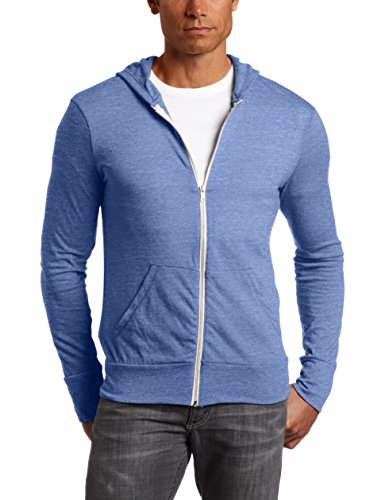 Alternative AA1970 Men's Eco Long-Sleeve Zip Hoodie - Ec Tr Pacif Blue - Large -