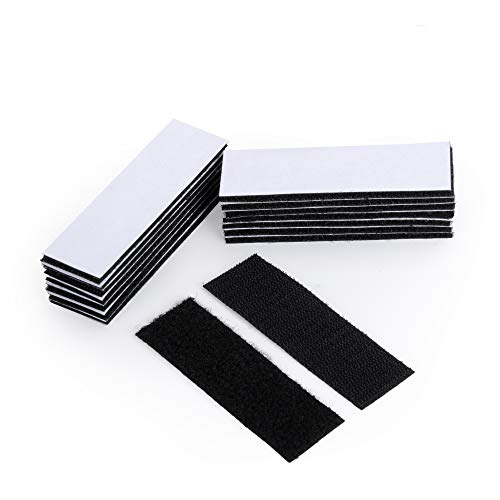 BRAVESHINE 12 PCS Strong Tape Double Sided Adhesive Sticky Hook Loop Mounting Strips Removable Wall Fastener Tape - Anti-Slip Carpet Gripper Interlocking Tape for Home Office Use - Black (1.2x4inch)