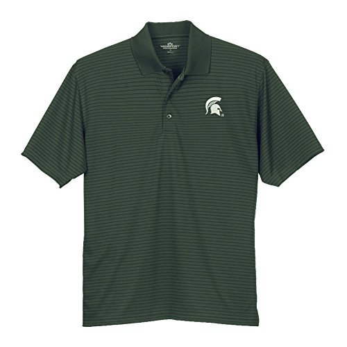 Elite Fan Shop Michigan State Spartans Striped Performance Polo Green - L - Forest Green ()