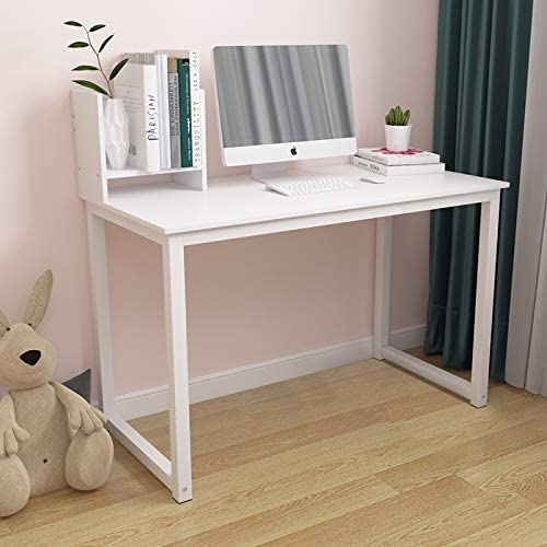 QIHANG-US Simple Wood Office Computer Desk Study Desk Gaming Desk for Home Dormitory Bedroom Small Space for Eating Reading Writing White-41