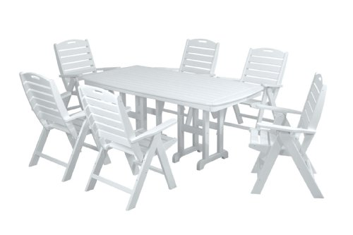 POLYWOOD PWS125-1-WH Nautical 7-Piece Dining Set, White