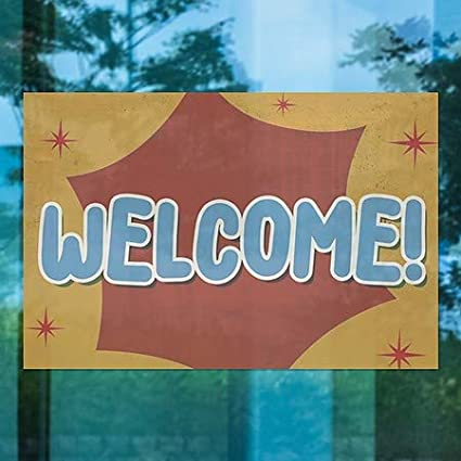 27x18 Welcome Nostalgia Burst Window Cling 5-Pack CGSignLab