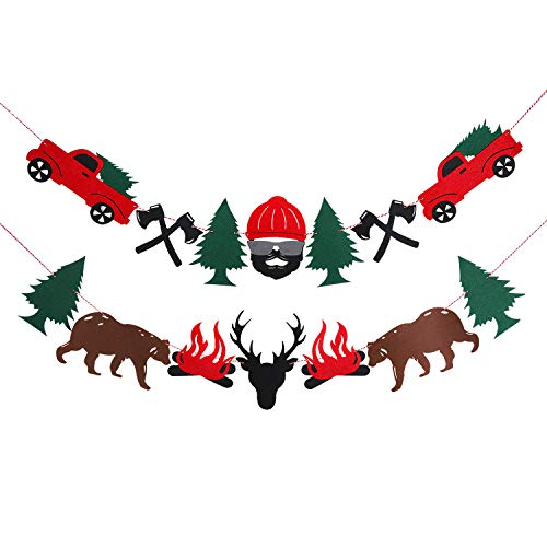 BeYumi Lumberjack Party Banner, Buffalo Plaid Garlands for Baby Shower, Kids Birthday and Christmas Party