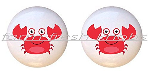 SET OF 2 KNOBS - Red Crab - Sea Creatures by PP - DECORATIVE Glossy CERAMIC Cupboard Cabinet PULLS Dresser Drawer (Crab Cabinet)