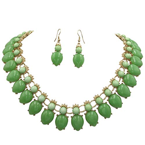 Gypsy Jewels Bright Abstract Bib Statement Boutique Necklace & Earrings Set - Assorted Colors (Green Mixed) ()
