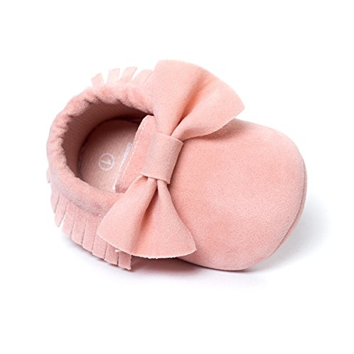 LIVEBOX Infant Baby Girls and Boys Premium Soft Sole Moccasins Tassels Prewalker Anti-Slip Toddler Shoes (S: 0~6 months, Bow- Princess Pink)
