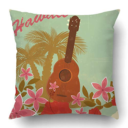 Jidmerrnm Throw Pillow Covers Brown Hawaii Vintage Hawaiian to Beach Party Green Flower Ukulele Retro Tropical Hibiscus Music Polyester 18 X 18 Inch Square Hidden Zipper Decorative Pillowcase