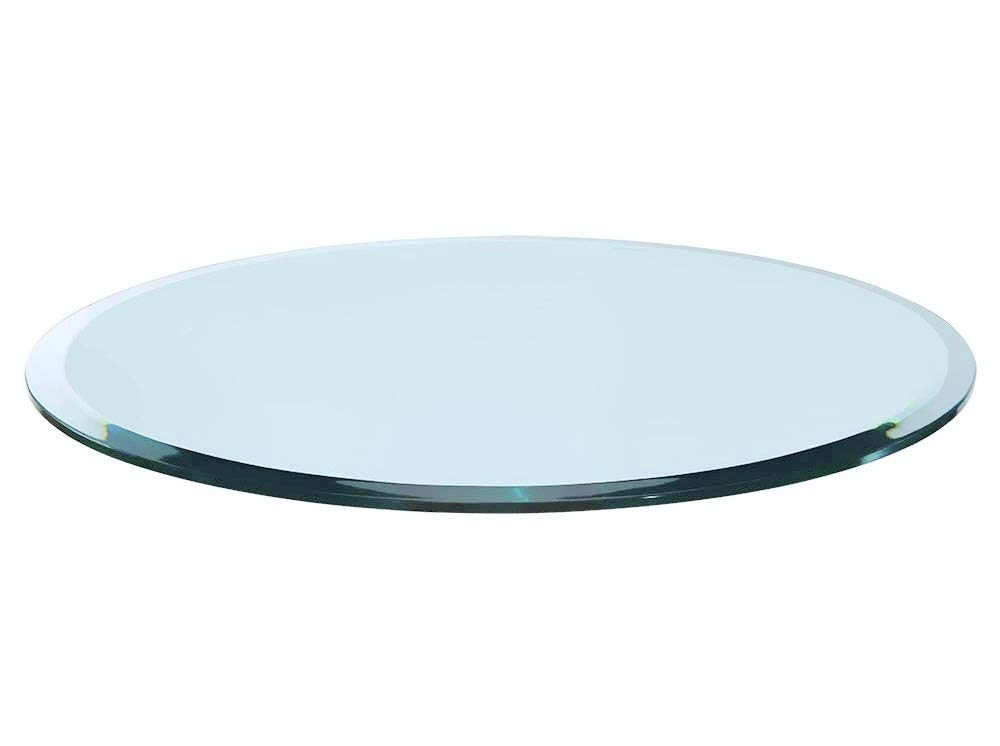 Bassett Glass | 20'' Round Tempered Glass Table Top - 1/2'' Thick - Beveled Polished Edge
