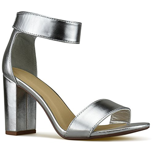 Premier Standard Women's Comfort High Heel Sandal - One Band Open Toe Ankle Strap Sexy Dress Chunky Block Heel - Stiletto Sandals, TPS Heels-Notle Silver Size 7 (Womens Block Heel)