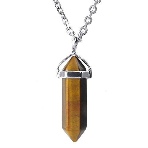 KONOV Mens Womens Tiger Eye Hexagonal Prism Pile Natural Gemstone Pendant Necklace, 24 inch Chain, Yellow