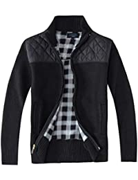 Men's Knitted Regular Fit Full Zip Cardigan Sweater with Soft Brushed Flannel Lining