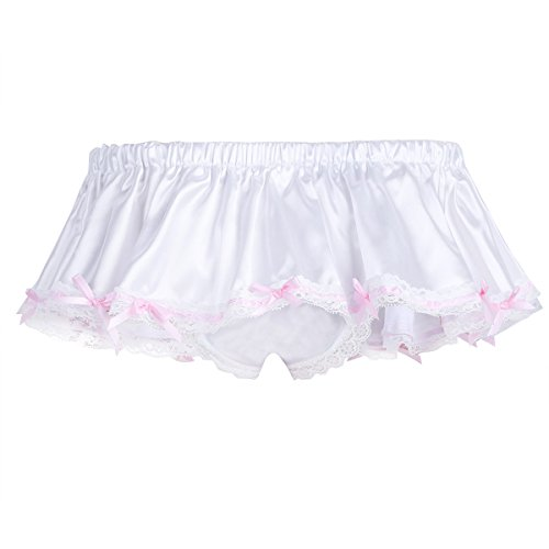 cf2735f16be6 MSemis Men's Sissy Skirted Panties Satin Frilly Lace Briefs Thongs Underwear  Crossdress Ivory X-Large
