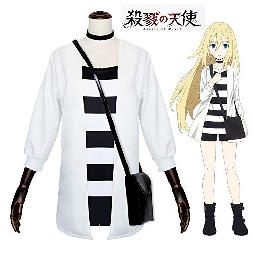 Bob 101 Asian Size Japan Anime Angels of Death Rachel Gardner Party Cosplay Halloween Costume Uniforms and Wig/Haversack