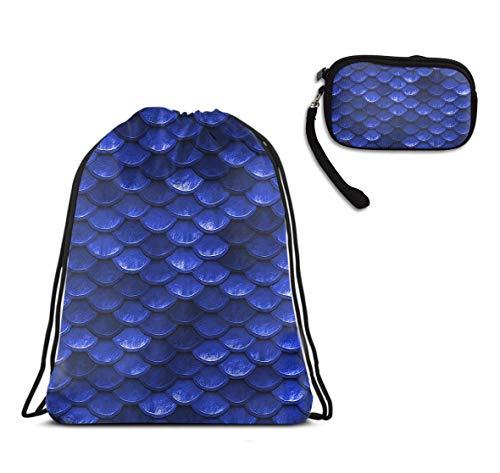 Travel Drawstring Sack, Lightweight String Bag - Beautiful Cobalt Sea Blue Mermaid Fish Drawstring Rucksack, Large Size Water Resistant Cinch Sackpack + Id Case Handbag Handbag