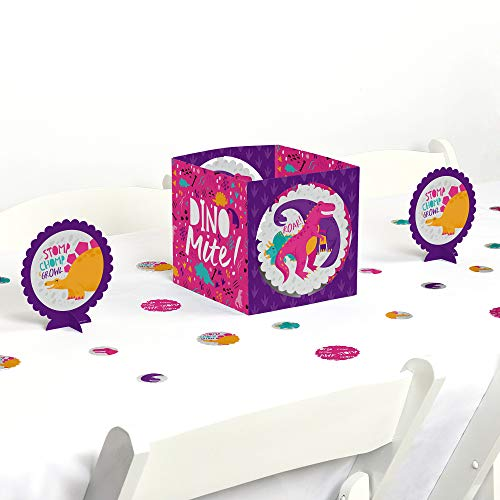 Dino Dots - Big Dot of Happiness Roar Dinosaur Girl - Dino Mite T-Rex Baby Shower or Birthday Party Centerpiece and Table Decoration Kit