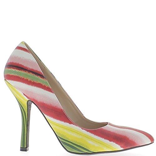 Tamaño grande de zapatos afilado 12cm tacon bandas multicolores