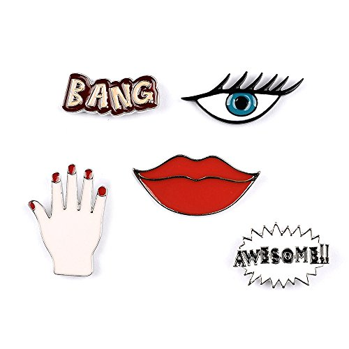 Onnea 5pcs Enamel Hand Mouth Brooch Set Cute Brooch Pin Patches for Clothes/Bags/Backpacks (Hand pins set)