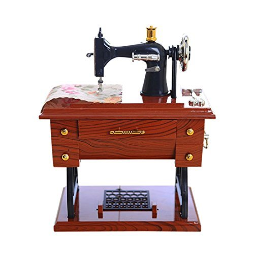 Sixpi Vintage Music Box Smart Design Mini Sewing Machine Style Mechanical Christmas Birthday Gift Table Decor Desk Furnishing Ornaments - Machine Ornament