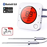 Wireless Bluetooth Meat Thermometer, 2019 Upgrade BBQ Kitchen Cooking Digital Thermometer,with Large Backlit Display,2 Probe,with Timer and Alarm, for Oven,Smoker, Candy, Grill, Barbecue