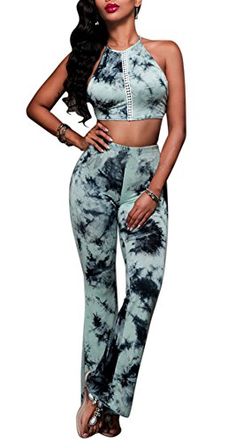 Aro Lora Women's Sexy 2 Piece Set Printed Party Crop Top and Wide Leg Pant Outfit Jumpsuits Medium Blue (Tie Set Dye)