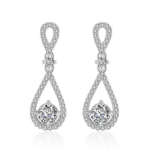 (Infinity Dangle Earrings for Wedding - Womens Sterling Silver Teardrop Cubic Zirconia Crystal Bridal Earring for Bride Bridesmaids Mother of Bride Rhinestone Drop Earrings for Party Prom)