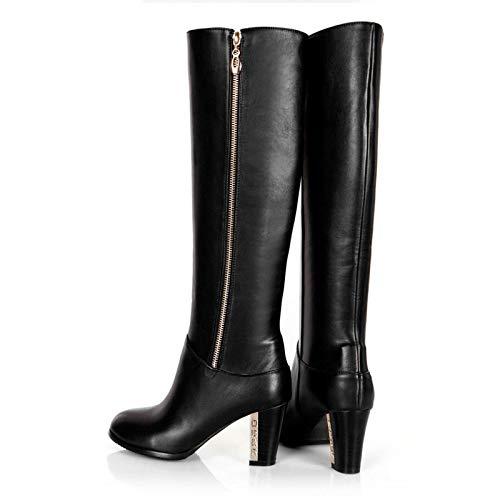 HAOLIEQUAN Frauen-Knie-Stiefel-Winter-Schnee-Stiefel High Heel Fashion Reißverschluss-Frauen-Reitstiefel-Schuhe Plus Plus Plus Größe 30-45 067fbd