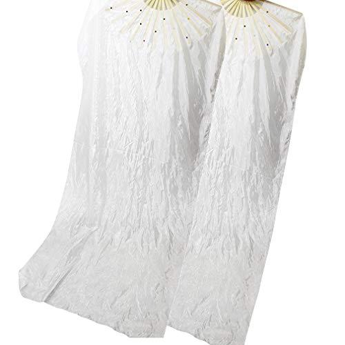 WEISIPU 1 Pair 1.8m Raks Sharki Belly Dancing Silk Fans Chinese Hand Made Bamboo Veils Long Fans(White)
