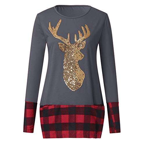 Hem Lianmengmvp Manche Foncé Plaid De Noël Couture Sweatshirt Flocon Gris Longue Pull Splice Beau Renne Vêtements Neige Tops UUx1vr