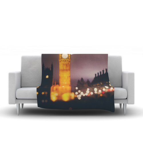 Kess InHouse Laura Evans Westminster at Night Yellow Multicolor Fleece Throw Blanket 60 by 50