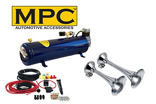 MPC 2-Trumpet Train Air Horn Kit for Trucks: Complete 12v System Includes All You Need for Maximum dB