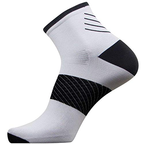 Plantar Fasciitis Sock - Compression Heel/Arch Support, Foot Sleeve, Ankle Socks (White, 3 Pairs - Large)