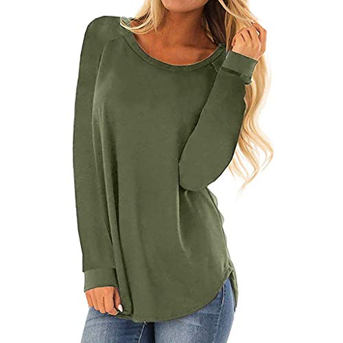 Keliay Bargain Women Casual Round Neck Long Sleeve T-Shirt Tops Loose Tunic Blouse