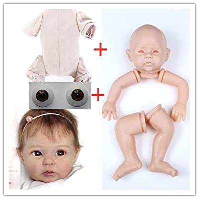 20 inch Blank Reborn Doll Kits with Suede Cloth Body and Acrylic Doll Eyes Unpained Silicone Vinyl Head + 3/4 Limbs DIY Doll Toy Accessories: Toys & Games