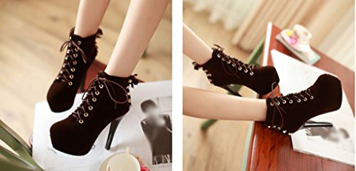 Boots Lace Female Boots High XZ Suede Brown Slim Short Heel Ankle HXqzxwpUYw